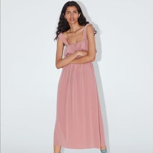 Zara dress with elastic waistband in faded pink.